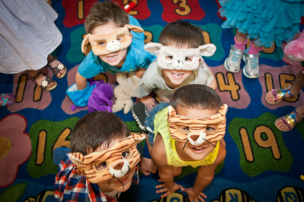 Kids with cute masks